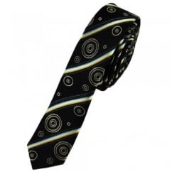Black Patterned Ultra Skinny Silk Tie Limited Edition By Ashley Victoria