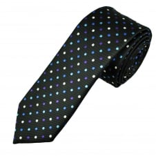Black, Pink, Blue, Purple & White Polka Dot Men's Skinny Tie