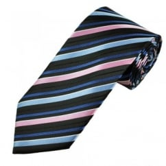 Black, Pink & Blue Striped Men's Tie