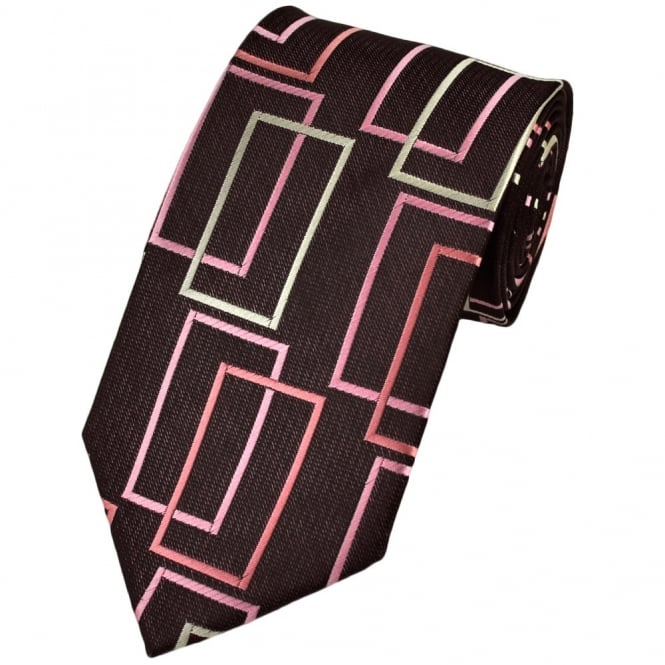 Black & Pink Oblong Patterned Boys Tie