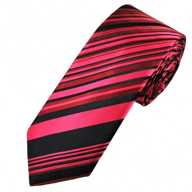 Black & Pink Striped Luxury Narrow Silk Tie