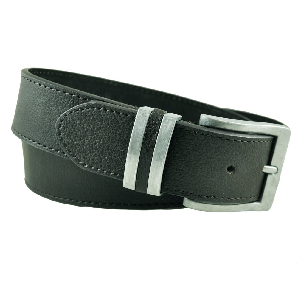 cb9cecb6323ab Black PU Bonded Leather Men's Jeans Belt from Ties Planet UK