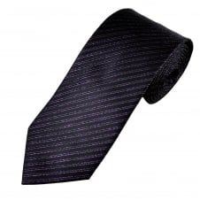 Black & Purple Lurex Striped Men's Tie