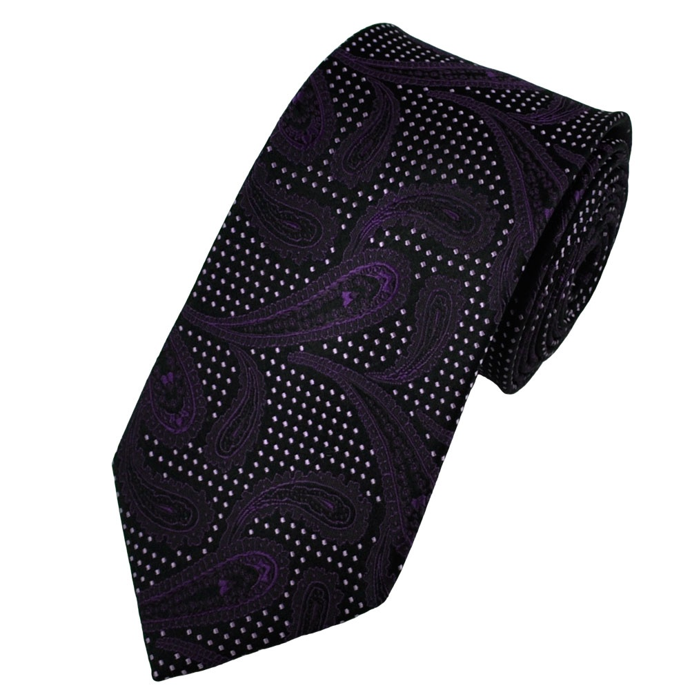 Black & Purple Paisley with Lilac Pattern Silk Tie from ... - photo#28
