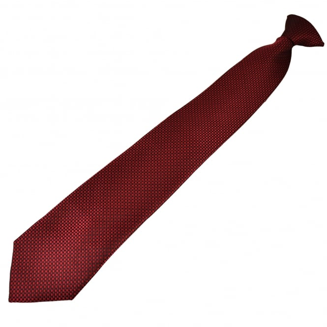 Black, Red & Burgundy Micro Checked Patterned Clip On Tie