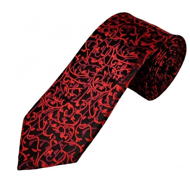 Black, Red & Burgundy Paisley Men's Extra Long Tie