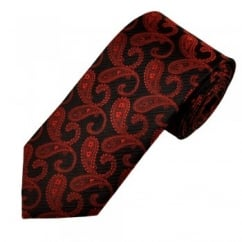 Black & Red Paisley Patterned Men's Silk Tie