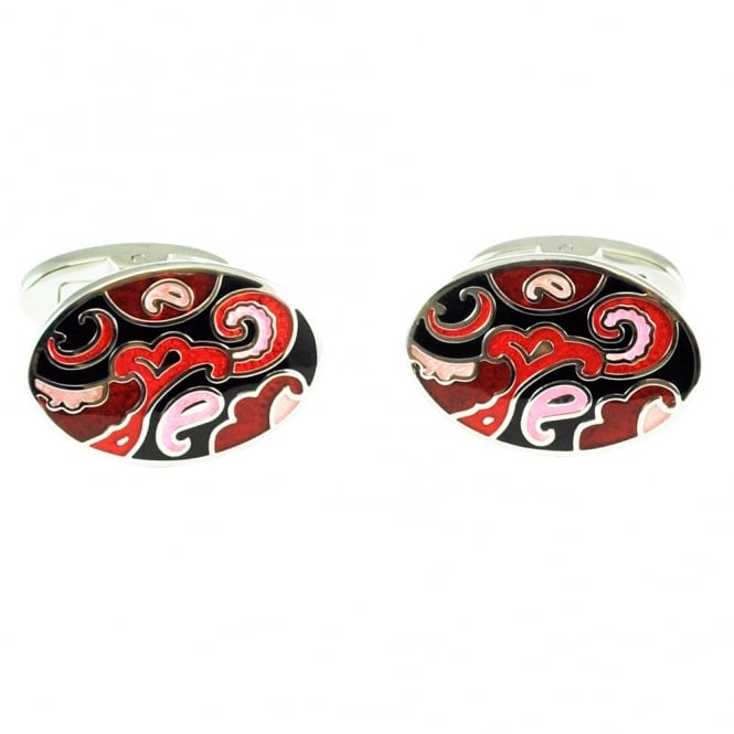 Black, Red & Pink Paisley Cufflinks