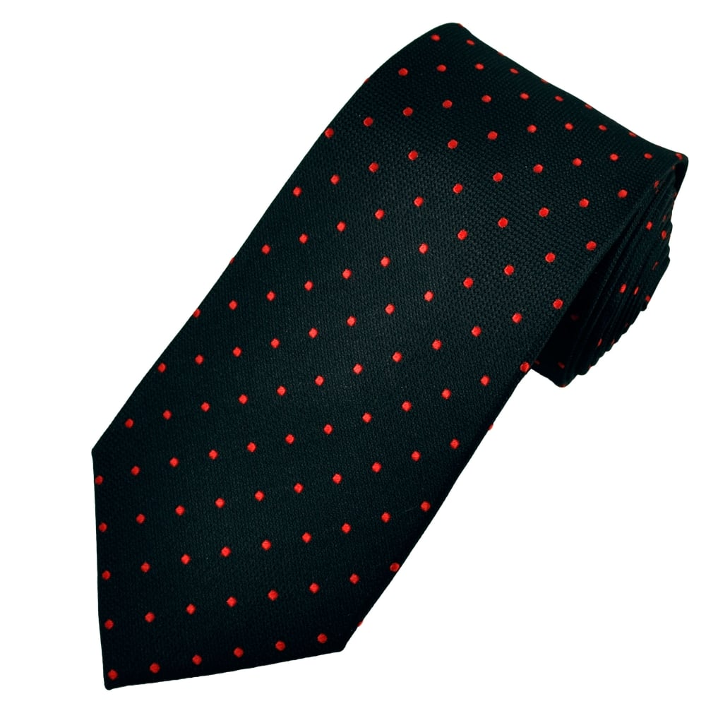 0c386fb0a1d3 Black & Red Polka Dot Silk Tie from Ties Planet UK