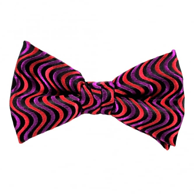 Black, Red & Purple Wave Patterned Silk Bow Tie