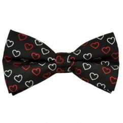 Black, Red & Silver Hearts Novelty Bow Tie