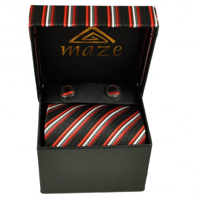 Black, Red & Silver Striped Men's Tie & Cufflinks Set