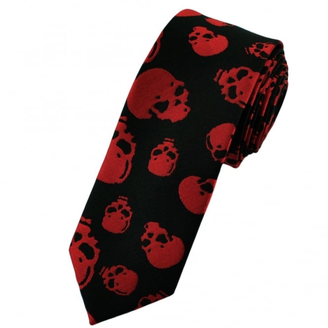 Black & Red Skulls Skinny Tie