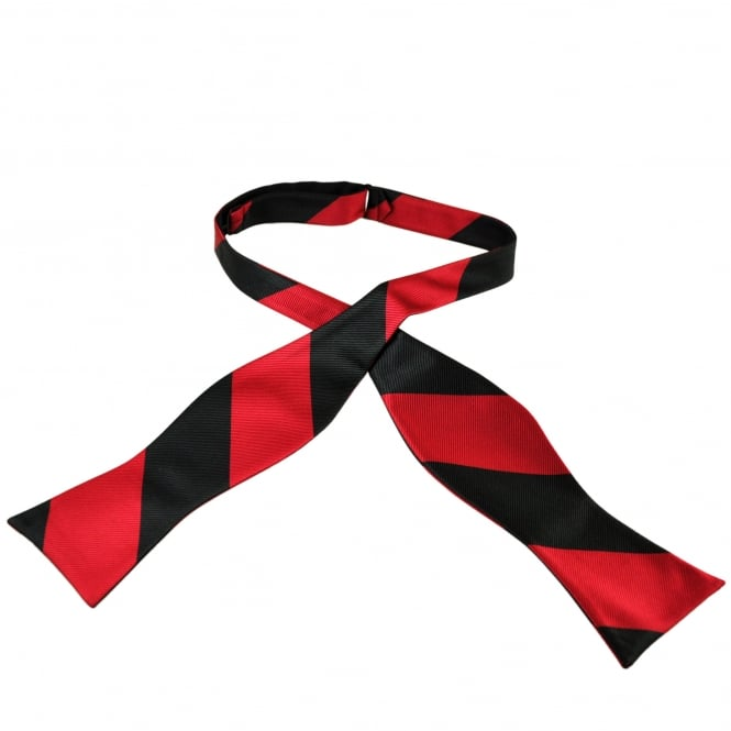 Black & Red Striped Self Tie Bow Tie