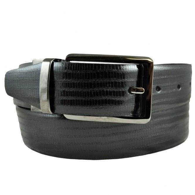 Ties Planet Black Reversible Mock Croc Premium Leather Men's Belt