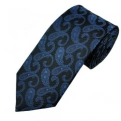 Black & Royal Blue Paisley Patterned Men's Silk Tie