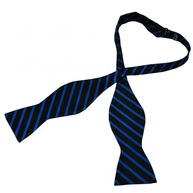 Black & Royal Blue Striped Self Tie Silk Bow Tie