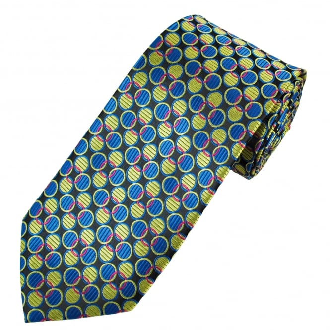Black, Sage Green, Royal Blue & Fuchsia Pink Circle Pattern Men's Tie