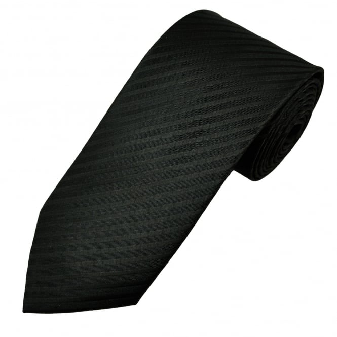 Black Self Striped Tie