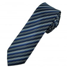 Black & Shades of Blue and Silver Patterned Men's Skinny Tie