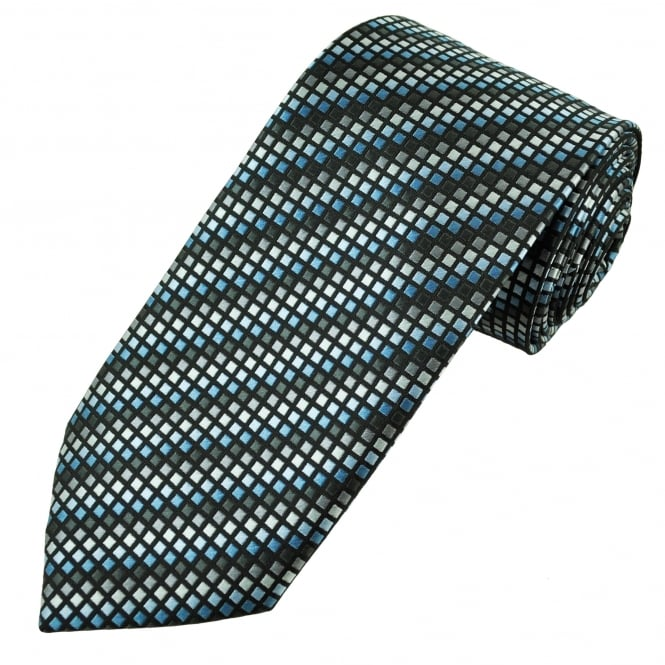 Black, Shades of Blue & Grey Square Patterned Men's Tie
