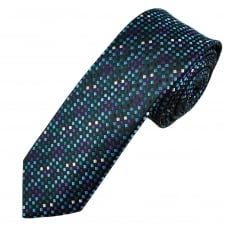 Black, Shades of Blue, Purple & Silver Patterned Men's Skinny Tie