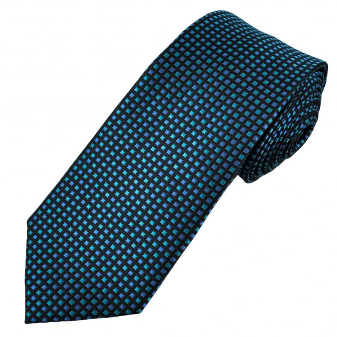 Black & Shades of Blue Square Patterned Men's Tie