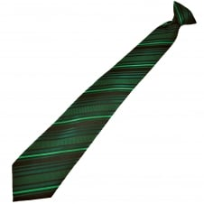 Black & Shades Of Green Striped Men's Clip On Tie