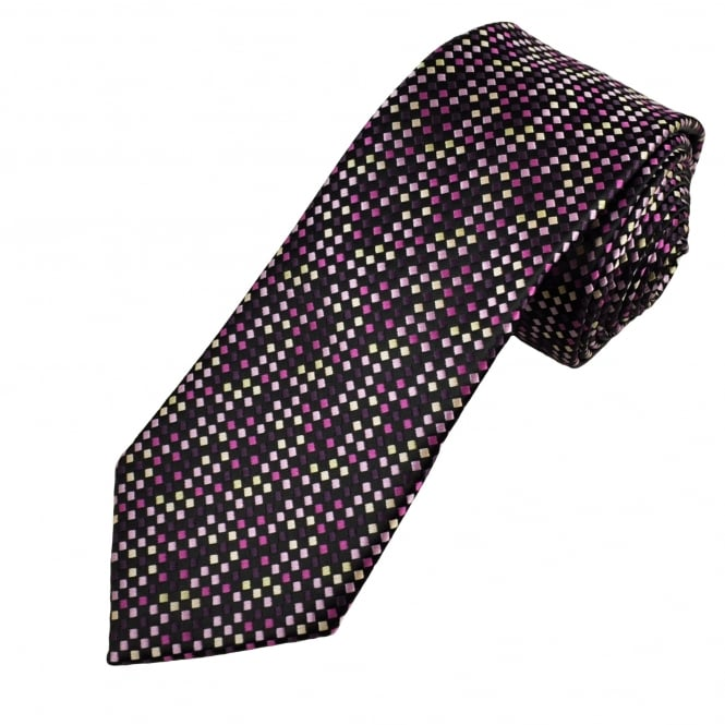 Black, Shades Of Pink & Beige Square Patterned Men's Tie