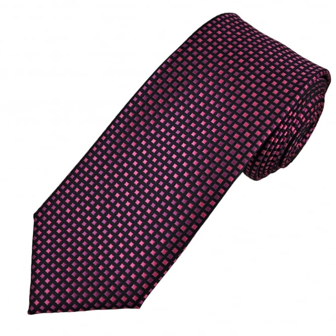 Black & Shades of Pink Square Patterned Men's Tie