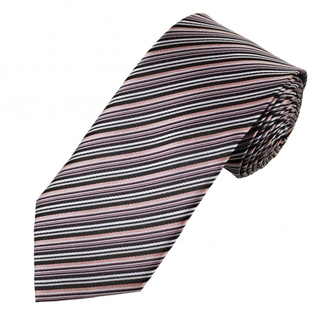 Black & Shades Of Pink Striped Men's Tie
