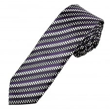 Black & Shades of Purple and Silver Patterned Men's Skinny Tie