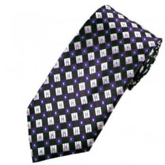 Black & Shades of Purple Diamond Patterned Tie