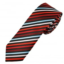 Black, Shades of Red, Sky Blue & Pink Striped Men's Skinny Tie