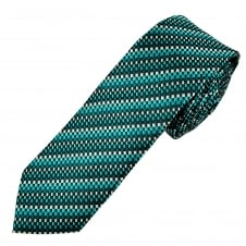 Black & Shades of Turquoise and Silver Patterned Men's Skinny Tie
