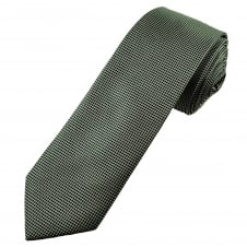 Black & Silver Check Narrow Men's Tie