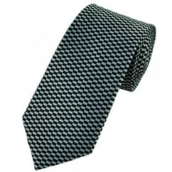 Black & Silver Checked Boys Tie