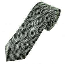 Black & Silver Checked Narrow Men's Tie