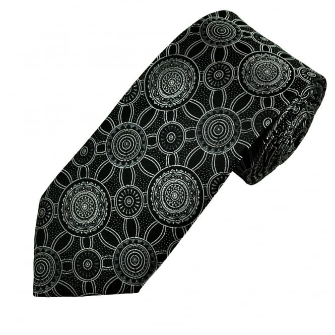 Black & Silver Circle Patterned Men's Silk Tie