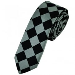 Black & Silver Diamond Checked Skinny Tie