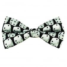 Black & Silver Dice Novelty Bow Tie