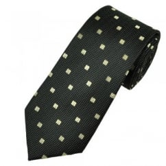 Black, Silver & Gold Squares & Polka Dot Men's Silk Tie