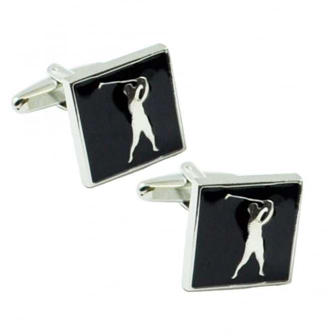 Black & Silver Golfer Novelty Cufflinks