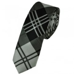 Black, Silver & Grey Check Skinny Tie