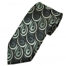 Black, Silver, Grey & Steel Blue Patterned Men's Extra Long Tie