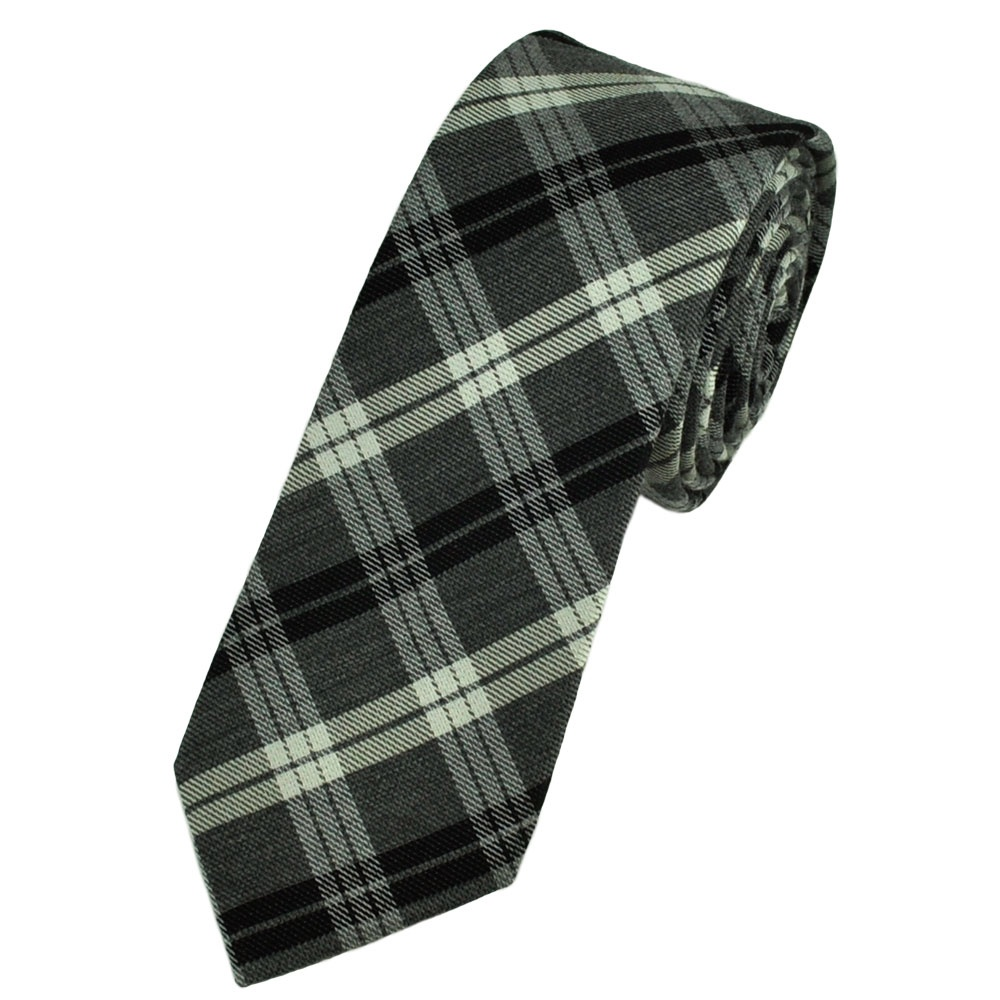 black silver grey tartan inspired checked narrow wool