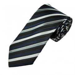 Black, Silver & Navy Blue Striped Men's Tie