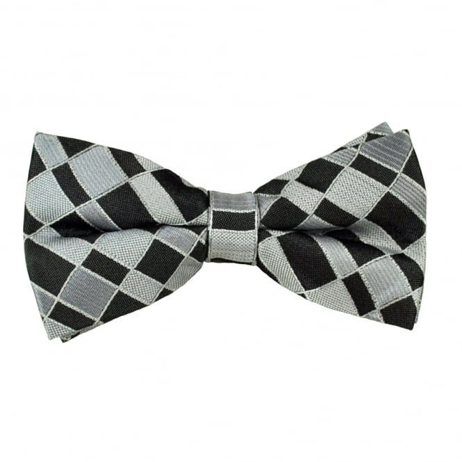 Black & Silver Patterned Men's Bow Tie