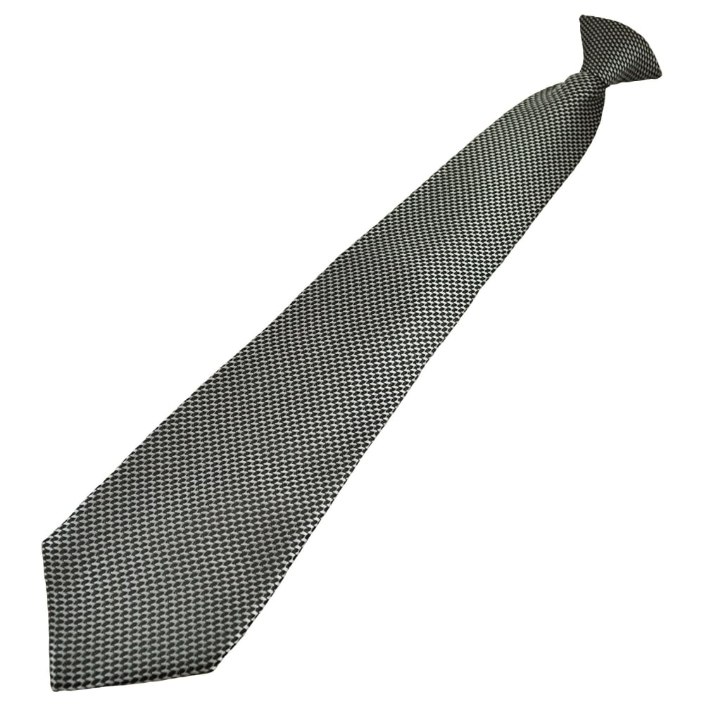 Black Amp Silver Patterned Men S Clip On Tie From Ties Planet Uk
