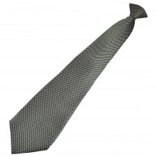 Black & Silver Patterned Men's Clip On Tie